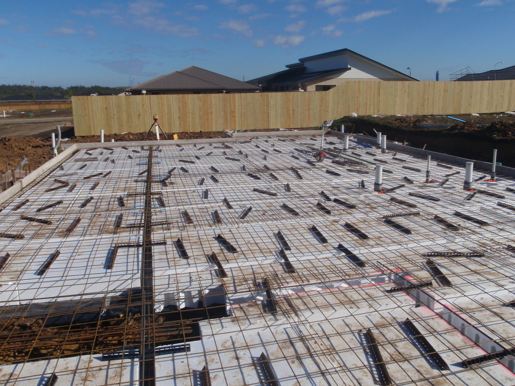 waffle pod house slab preparations with steel reinforcing